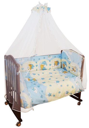 Постельное белье в кроватку Мишкин сон 3 пр голубой фото