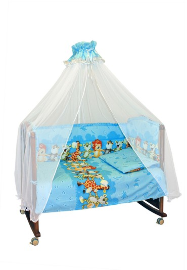 Постельное белье в кроватку Африка голубой фото