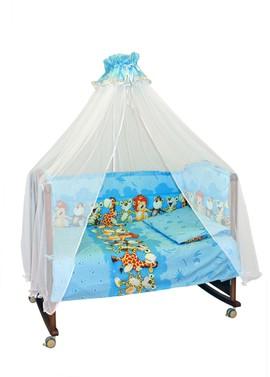 Бортики в детскую кроватку Африка голубой