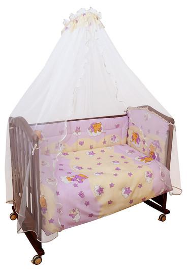 Бортики в кроватку для девочки Мишкин Сон розовый фото 1