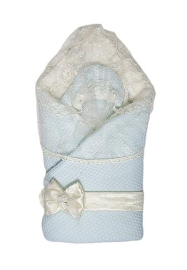 Конверт-одеяло на выписку Жемчужинка фото голубой