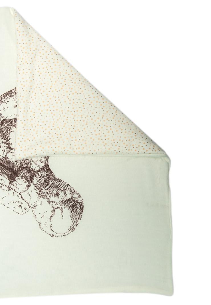 Тёплый вязаный плед Мишка молочный фото