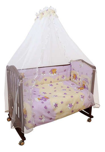 Постельное белье в кроватку Мишкин сон розовый фото