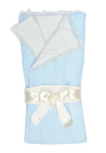 Конверт-одеяло на выписку Нежность фото голубой