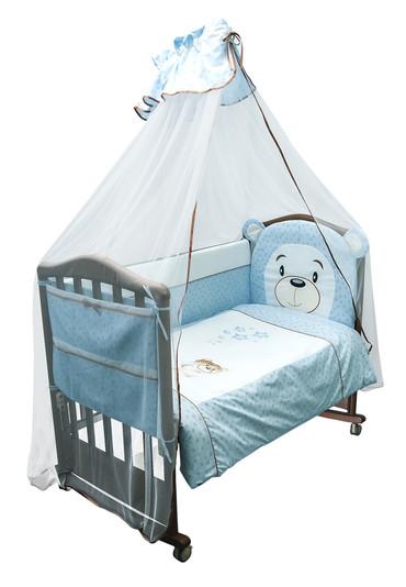 Постельное белье в кроватку Умка 7 предметов фото голубой