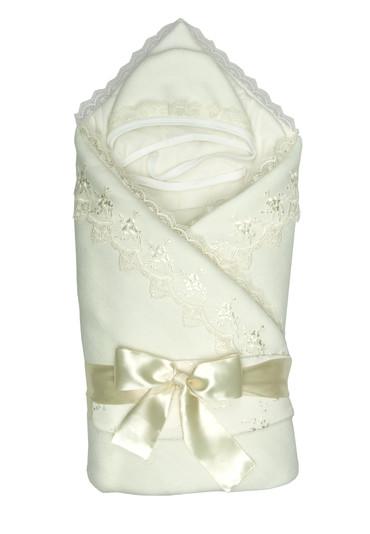 Конверт-одеяло на выписку Бусинка фото молочный