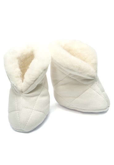 Теплые пинетки на овчине для новорожденного фото