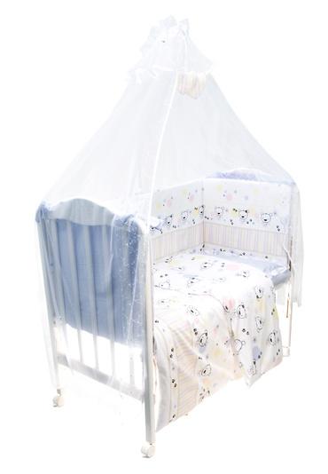Постельное белье в кроватку Конфетти 7 предметов фото голубой