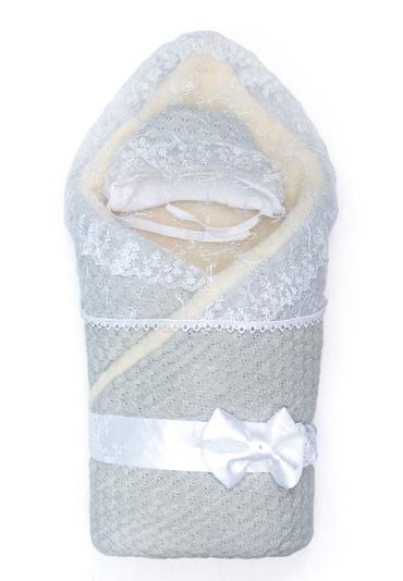 Конверт-одеяло  с мехом на выписку Жемчужинка серый фото