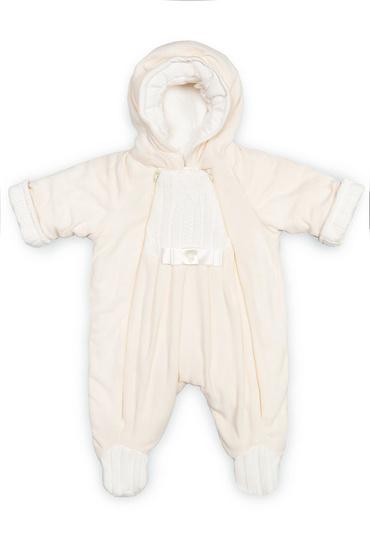 Комбинезон из флиса для новорожденных Ромашка фото молочный