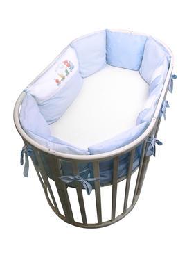 бортики подушки в овальную кроватку Паровозик фото