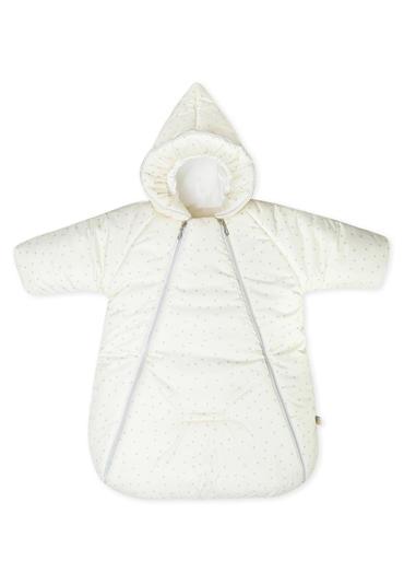 Конверт-комбинезон на выписку Хлопушки молоко с серым фото
