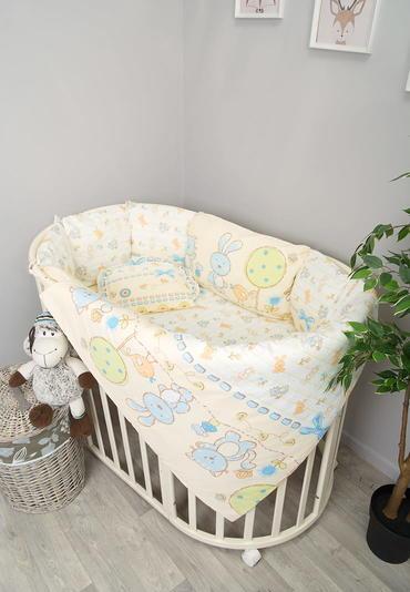 Комплект белья в круглую кроватку акварель 4 предмета фото 1 голубой