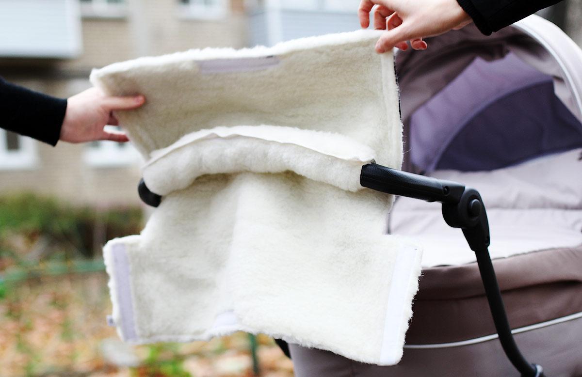 Меховая муфта на коляску Норд фото сиреневый