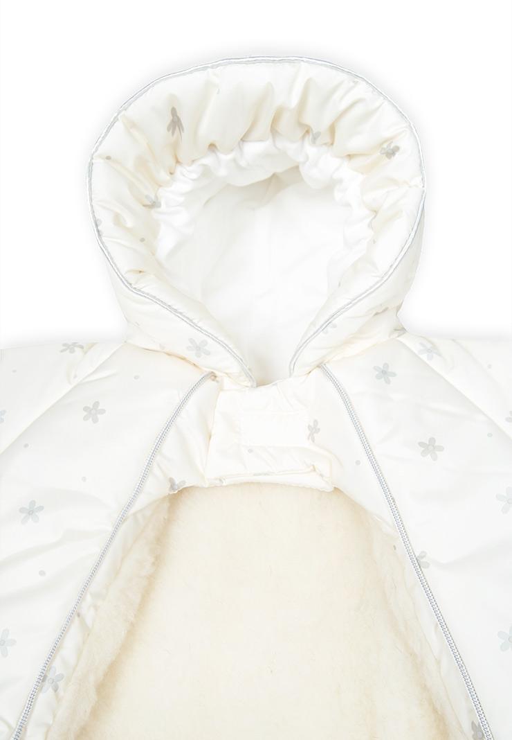 Конверт-комбинезон на выписку Хлопушки молочный-розовый фото