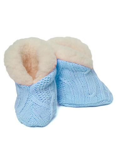 Пинетки голубые вязаные на овчине Жемчужинка фото