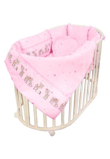 комплект оленята из 7 предметов с балдахином фото розовый